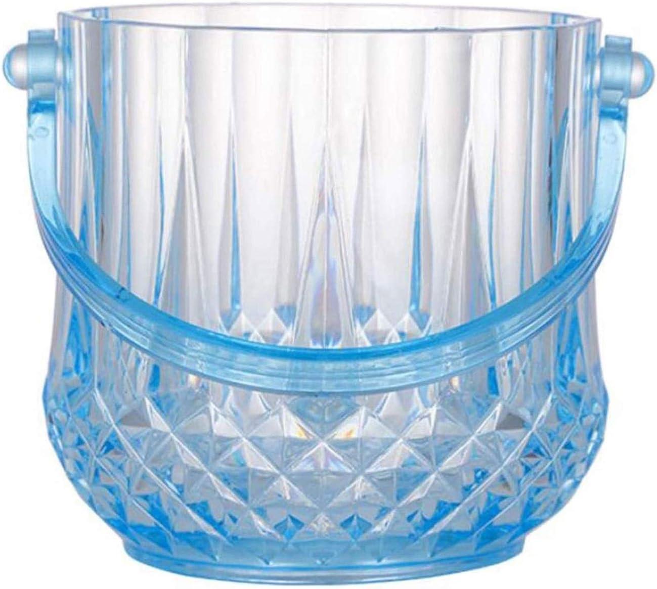 Cubiteras Ice Bucket para Interior y Exterior 1L Cubierta de hielo azul de plástico para el hogar con mango y pinzas de hielo, cubo de vino de champán, para bodas, suministros de patio de verano Cubo