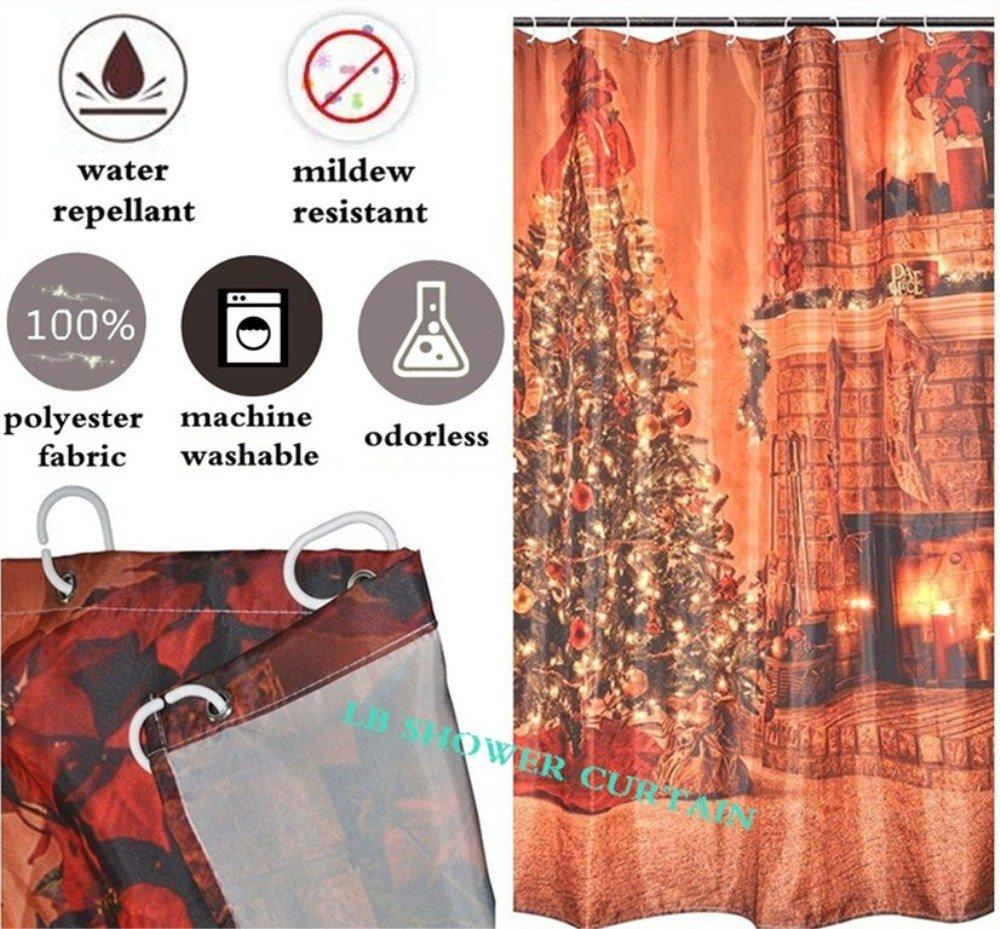 Sparkle Moon Stars Shower Curtain LBNight Scenery Theme Polyester Fabric Waterproof Mildew Resistant Bath