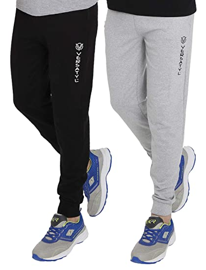 8b9207c7 VERSATYL Men's Cotton Jogger Track Pants Combo Pack of 2 (Black-Grey ...