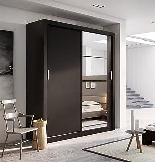 Schwebetürenschrank schwarz matt  Kleiderschrank PARIS in Schwarz, mit Spiegel, Breite: wahlweise ...
