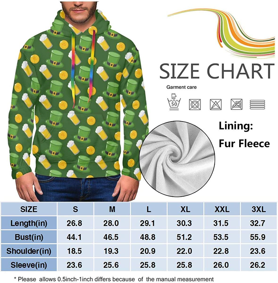 RZM YLY Happy St Patricks Day Printed Hoodies for Men Pullover Hooded Shirts