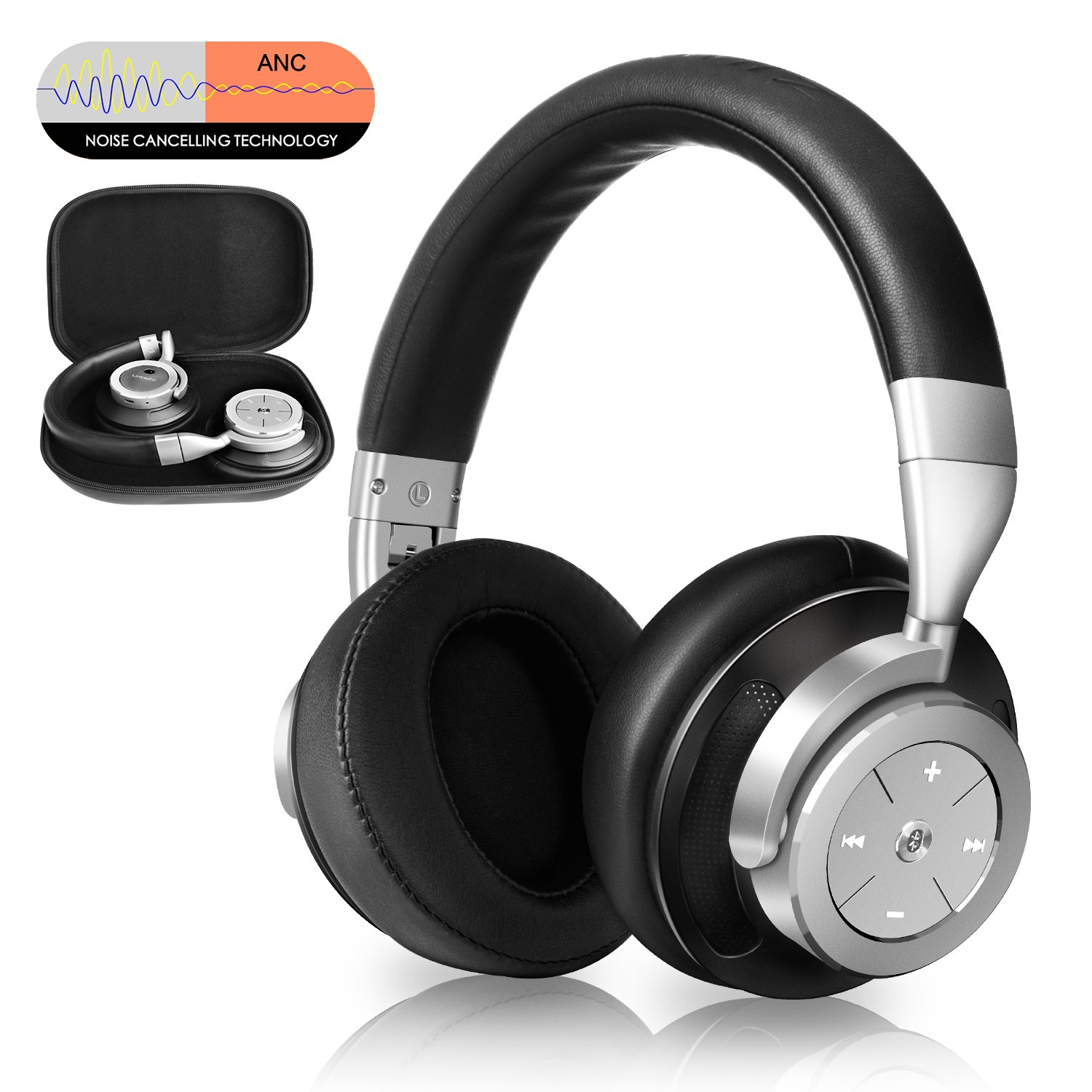 Noise Cancelling Bluetooth Headphones - Hi-Fi Stereo Deep Bass Over Ear Wireless Headphones with Mic and Portable Carrying Case for Travel Work TV/PC/Cell Phones, Steel Silver by Linkwitz