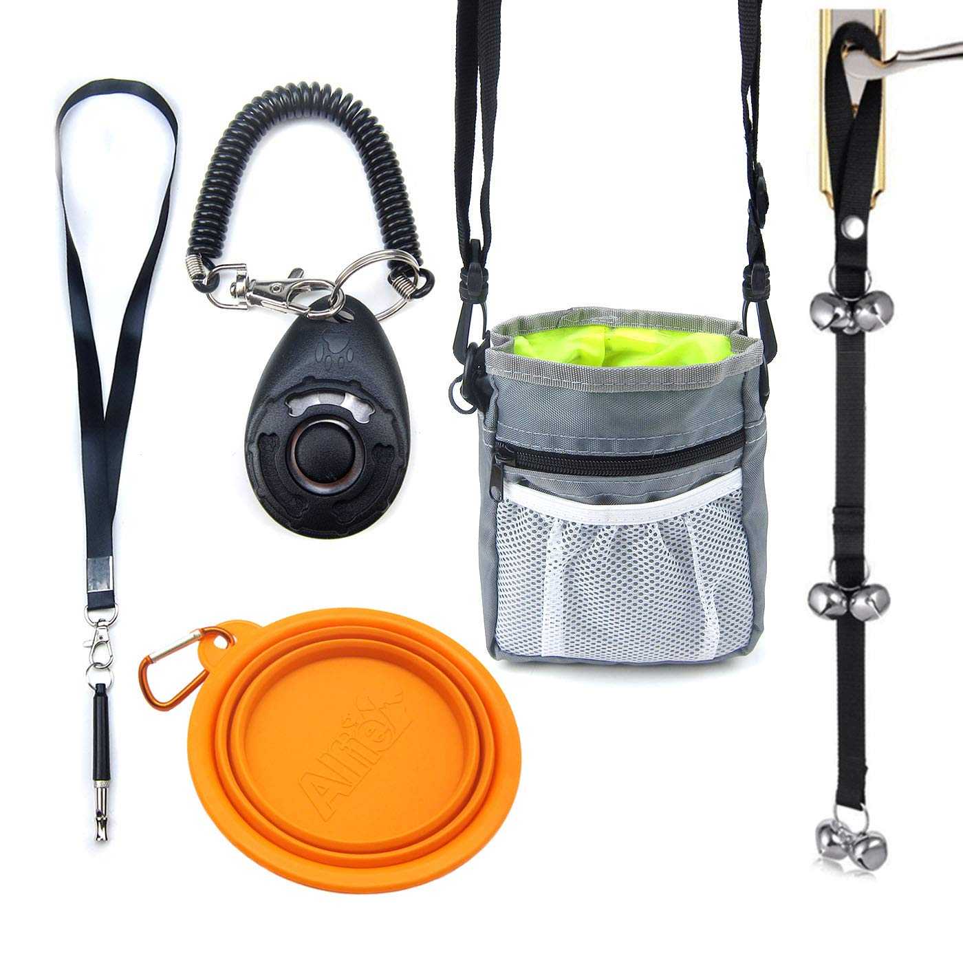 Alfie Pet - Bill 5 in 1 Puppy and Dog Training Essential Kit - Treat Pouch, Bark Control Whistle, House Training Doorbells, Clicker, and Dog Bowl by Alfie