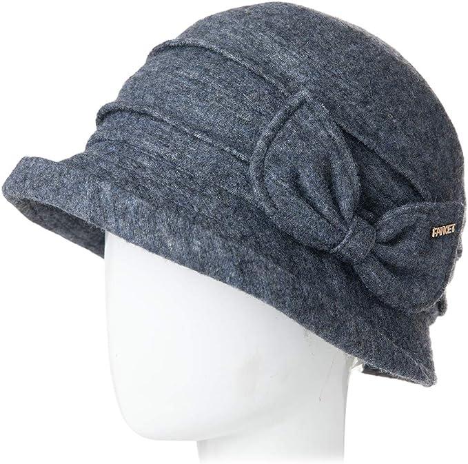 Chapeau Tendance pour lhiver Pliable et r/églable Robe Derby en Laine Vintage des ann/ées 1920 pour Femme