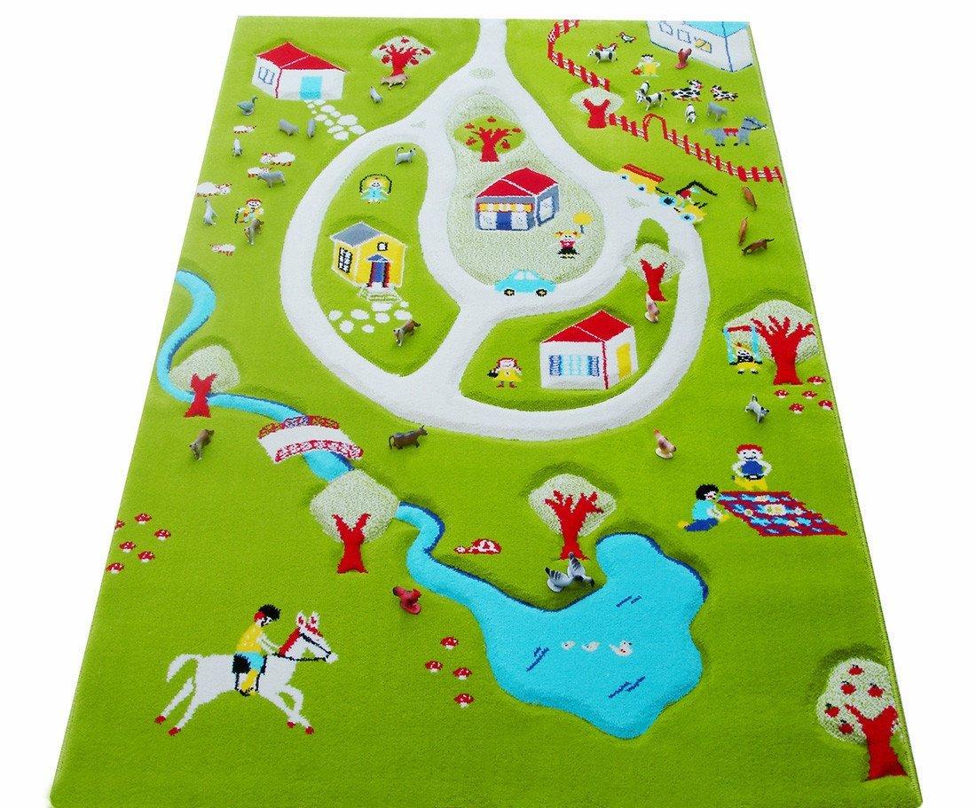 Little 100 Helper 101MD011YETZ10152 IVI Hypoallergener Dicker 3D-Kinderspielteppich, 100 Little x 150 cm, mehrfarbig mit türkisfarbenem See c1e4b6