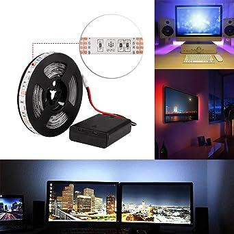 Tiras LED Iluminaci¨®n 2M RGB 60LEDs Impermeable IP65 SMD 5050 Tira de luz flexible TV Manguera ligera Decorativo secuencia ligera DC4.5V Operaci¨®n de la bater¨ªa: Amazon.es: Iluminación
