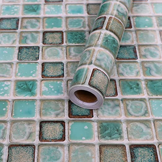 Hode Mosaic Tile Stickers For Kitchen Bathroom Contact Paper Self Adhesive For Tiles Peel And Stick Waterproof Green 40x200cm Tile Stickers
