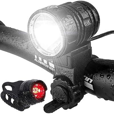 Luces Bicicleta, LED Luz Bicicleta Impermeable,Luz de Bici Recargable USB, Al Aire Libre Luces Bici Delantera and LED Luces Trasera Kit,1200 Lúmenes Súper Potente Lámpara, 5 Modos Iluminación