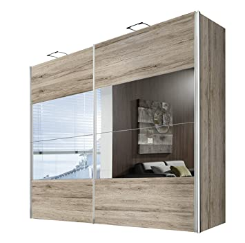 express mobel kleiderschrank schlafzimmerschrank eiche san remo hell 250 cm mit spiegel 2 turig