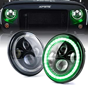 Xprite 7 Inch 90W LED Headlights With Green Halo for 1997-2018 Jeep Wrangler JK TJ LJ (DOT Approved), CREE LED Chip, 9600 Lumens Hi/Lo Beam with Halo Ring Angel Eyes