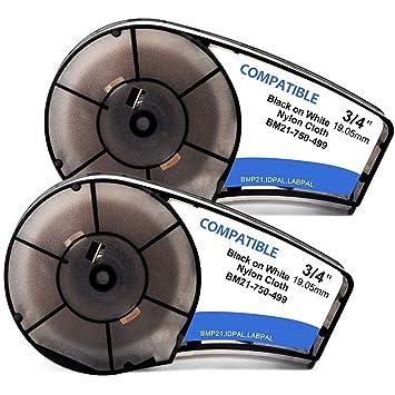 2PCS Nylon FOR BRADY M21-750-499 Label Cartridge,Black//White,3//4 In W
