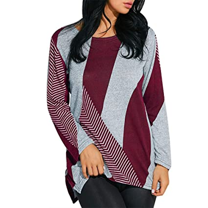 aadbf8c5829 Amazon.com: Sale for Coat,AIMTOPPY Women's Round Neck Long Sleeve Striped  Print Stitching Top T-Shirt: Computers & Accessories