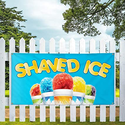 Vinyl Banner Multiple Sizes Shaved Ice Outdoor Advertising Printing G Retail Outdoor Weatherproof Industrial Yard Signs Blue 10 Grommets 60x144Inches