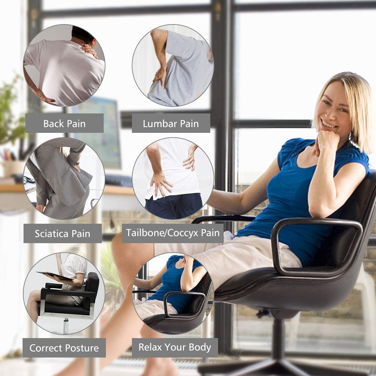 Aukee Lumbar Support for Car Genuine Leather Memory Foam Pillow Lower Back Cushion for Office Chair with Adjustable Strap Beige 1 Pack
