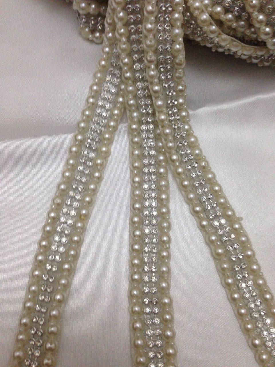 avorio perla argento in rilievo Daimonte Luxury wedding applique Trim bordo costume da sposa 0, 9m x 2cm D3 Mctrimmings