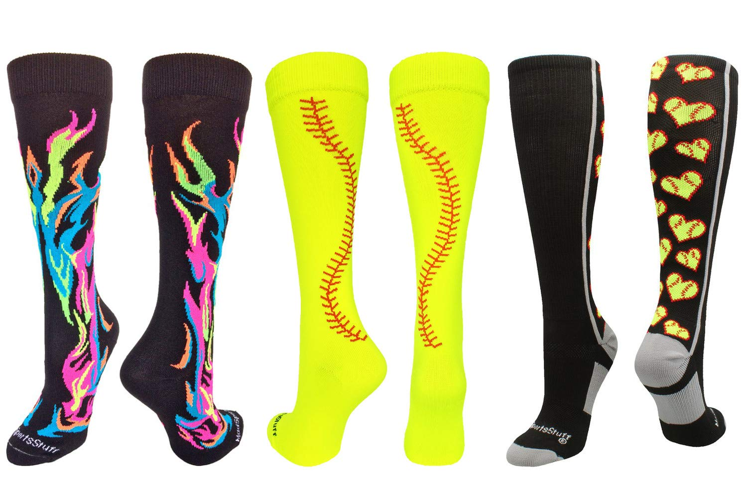 MadSportsStuff Love Softball Flame Stitch Socks Softball Pack (Softball Pack-Multi, Small)