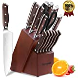 homgeek Professional Kitchen Knife Set with Block Wooden, German 1.4116 Stainless Steel, Including Sharpener, Scissors…