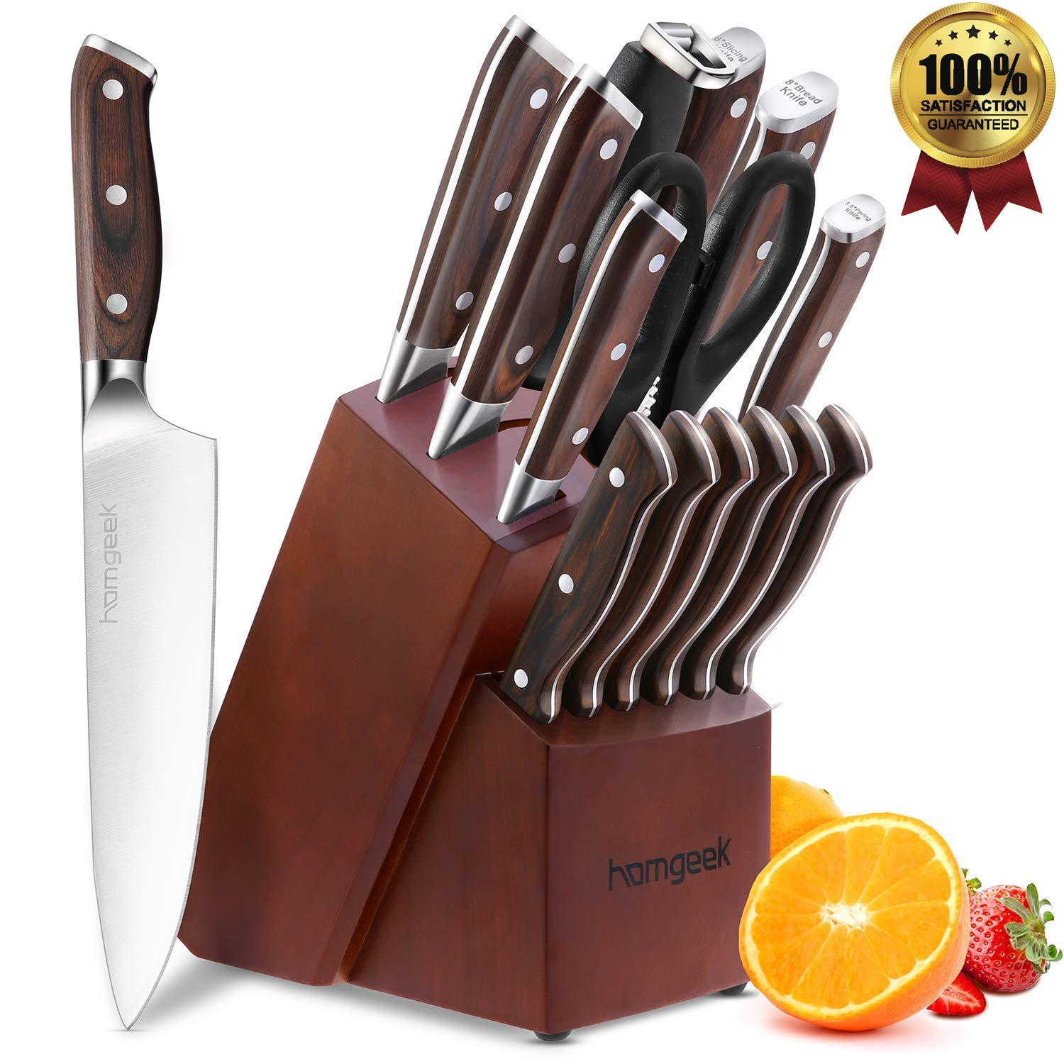 Kitchen Knife Set 15 Piece with Wooden Block Sharpener and Serrated Steak Knives, homgeek Professional High Carbon Steel Chef Knife Block Set Full-Tang Forged, German 1.4116 Steel, Pakkawood Handle by homgeek (Image #1)