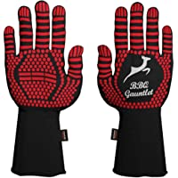 BBQ Grill Gloves - Heatproof Upto 500 Degree Celsius - Heat Resistant Barbecue Gloves for Cooking Grilling Fireplace…