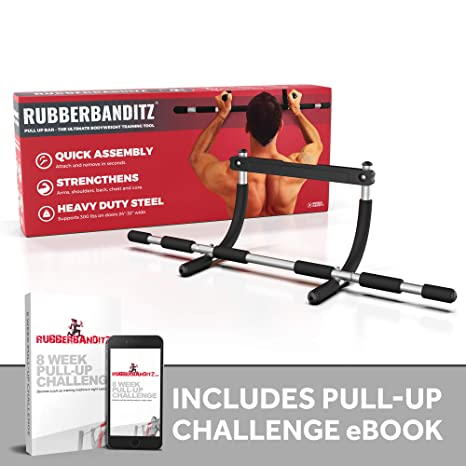 7496669d665b Amazon.com : Rubberbanditz Doorway Pull Up Bar | Doorframe Chin-Up & Pull-Up  Bar for Home Fitness, Workout, Gym + Free eBook : Door Pull Up Bar : Sports  & ...