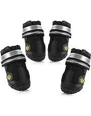 Petyoung Wasserabweisend Hund Schuhe mit Reflektierende Klettverschluss , Robuste Rutschfeste Sohle Schuhe für Mittlere bis Große Hunde, 4-Teilig