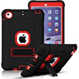 iPad Mini, Mini 2, Mini 3 Case, Elegant Choise iPad Case with Stand, Shockproof / High Impact Resistant Hybrid Three Layer Defender Protective Cover Case for iPad Mini 1/2/3 (Black+Red)