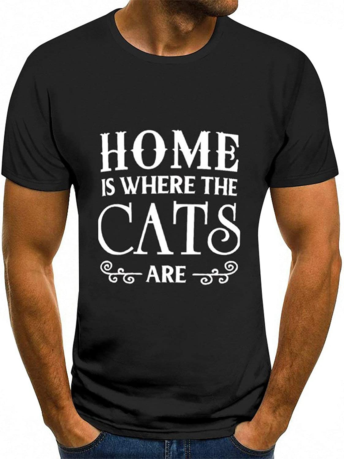 Unisex Cool Home is Where The Cats are Print Short Sleeves Shirt Black
