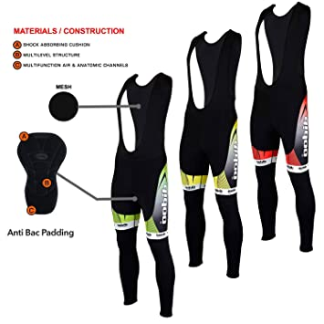 09e56a5e7 Didoo New Mens Cycling Bib Tights Winter Thermal Padded Long Pant Biking  Trouser - Green -