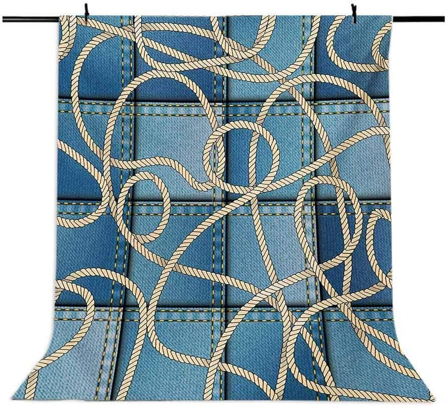 Nautical 10x15 FT Photo Backdrops,Various Patches of Denim in Sea with Sailor Knot Rope on Foreground Image Art Print Background for Party Home Decor Outdoorsy Theme Vinyl Shoot Props Blue
