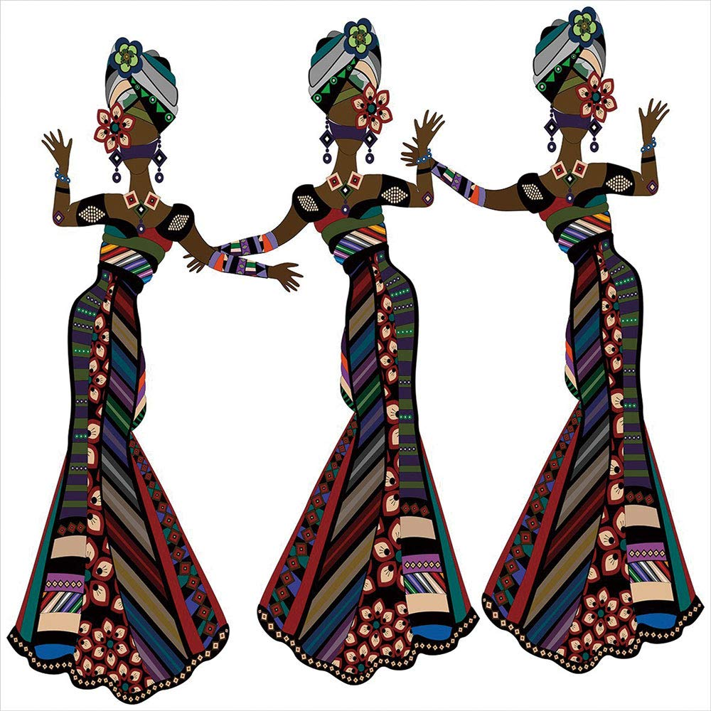 Blackout Window Shades,Free Punching Magic Stickers Curtain,African Woman,Young Women in Stylish Native Costumes Carnival Festival Theme Dance Moves Decorative,Multicolor,Paste Style,for Living Room