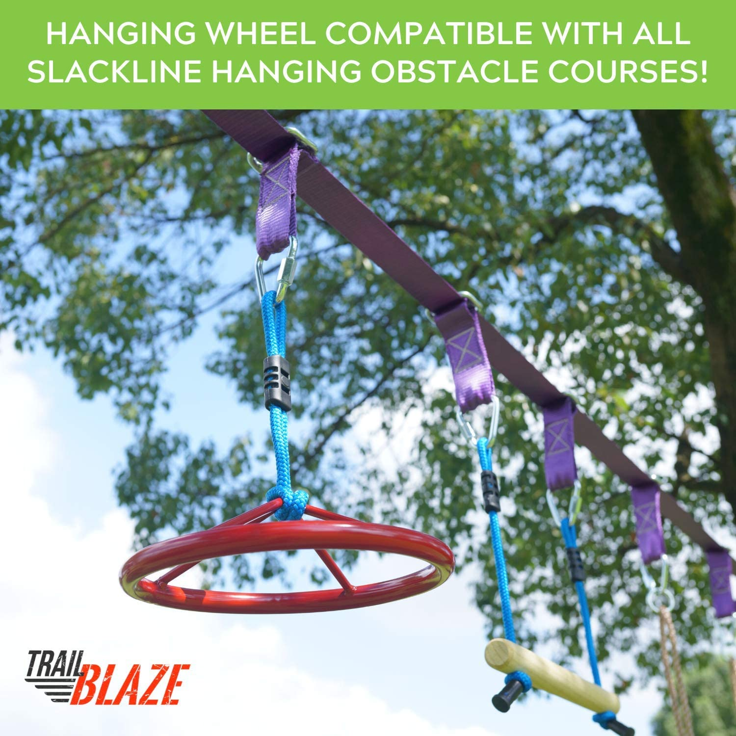 Perfect Addition to Your Outdoor Play Equipment Jungle Gym Monkey Wheel Easily Attaches to Ninjaline Trailblaze Premium Hanging Wheel for Ninja Warrior Slackline Hanging Obstacle Course for Kids