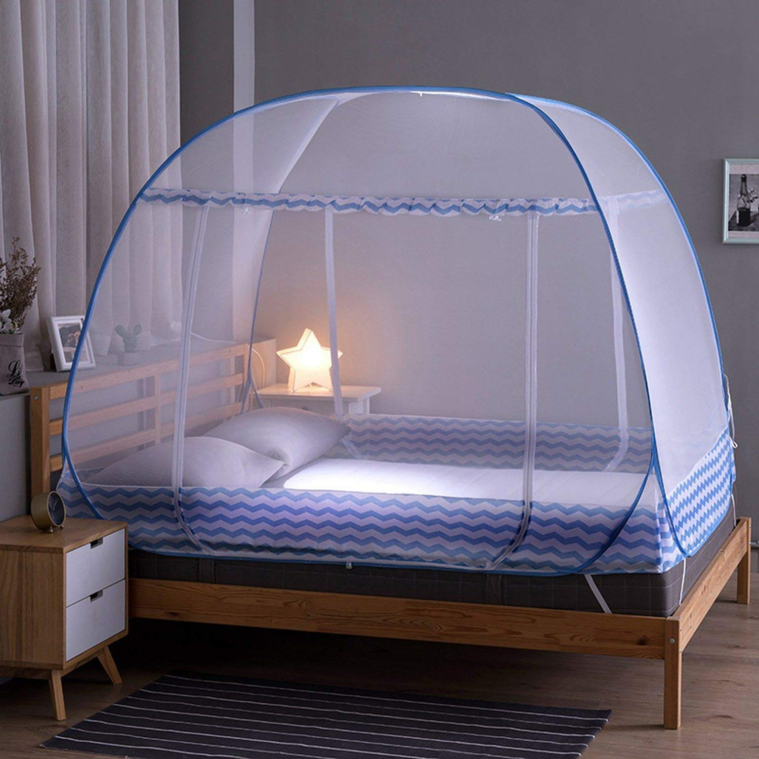 Mosquito Bed Netting Tent Durable Home Decor Student Bunk Breathable Mosquito Net Bed Net Mesh Tent,Blue,M by Try My Best Mosquito Net (Image #2)