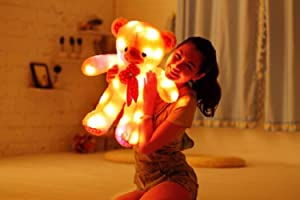 Shengshou Plush Luminous Glow Cartoon Teddy Toy Bear,7 Color Changing, Tap Switch,Removable Easy Wash,Child Girlfriend Valentine Christmas Birthday Gift, 23.6 Inches
