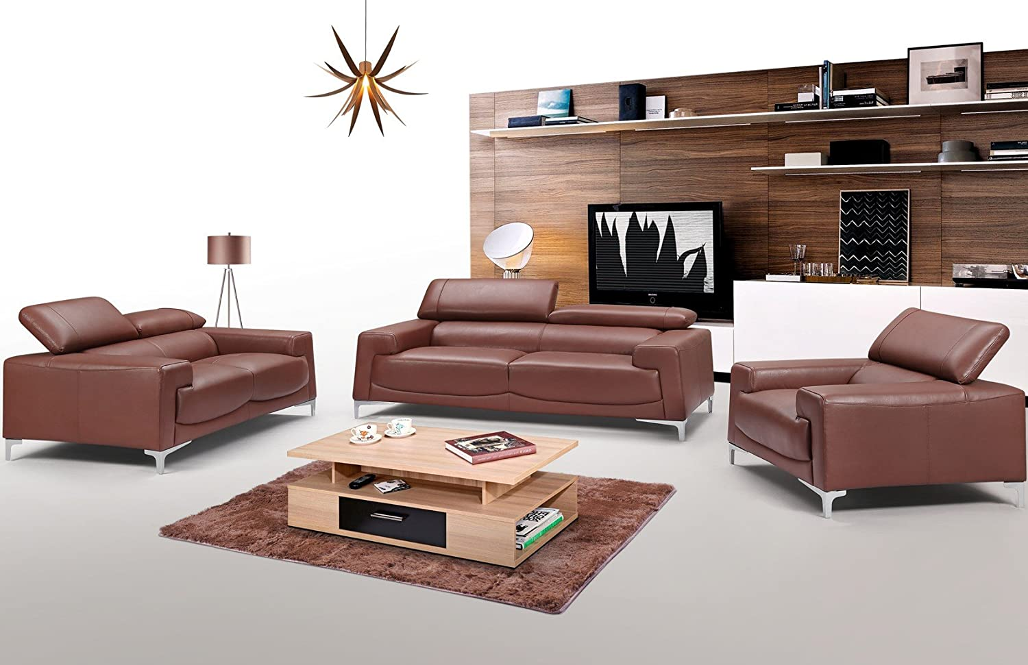 - Amazon.com: 2537 Genuine Brown Leather Sofa Collection By ESF