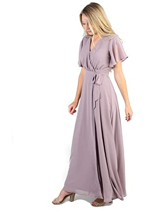 e64d2608ea Called To Surf A Nursing Friendly Bridesmaid Wrap Maxi Dress with Flutter  Short Sleeves