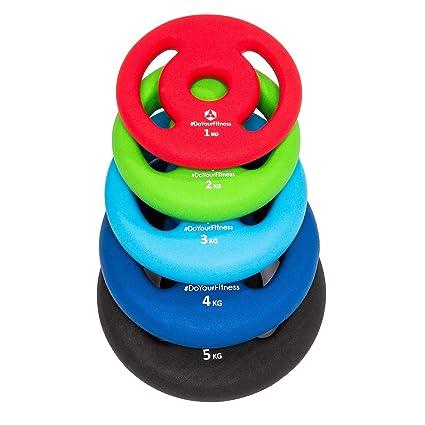 2 pesas de hierro fundido 100% de 1 kg 2 kg 3 kg 4 kg 5 kg / cada peso tiene su color distintivo. Orificio de 30 / 31 mm con revestimiento de neopreno ...