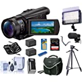 Sony FDR-AX100/B 4K UHD Video Camera with 3.5-Inch LCD (Black), Bundle   LED Light + 2 Batteries + Charger + Mic + Tripod + Cam Bag + 64GB Card + Card Case + Triple Shoe + Cleaning Kit + Card Reader