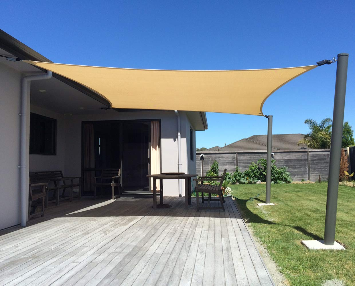 SUNNY GUARD 12' x 16' Sand Rectangle Sun Shade Sail UV Block for Outdoor Patio Garden by SUNNY GUARD