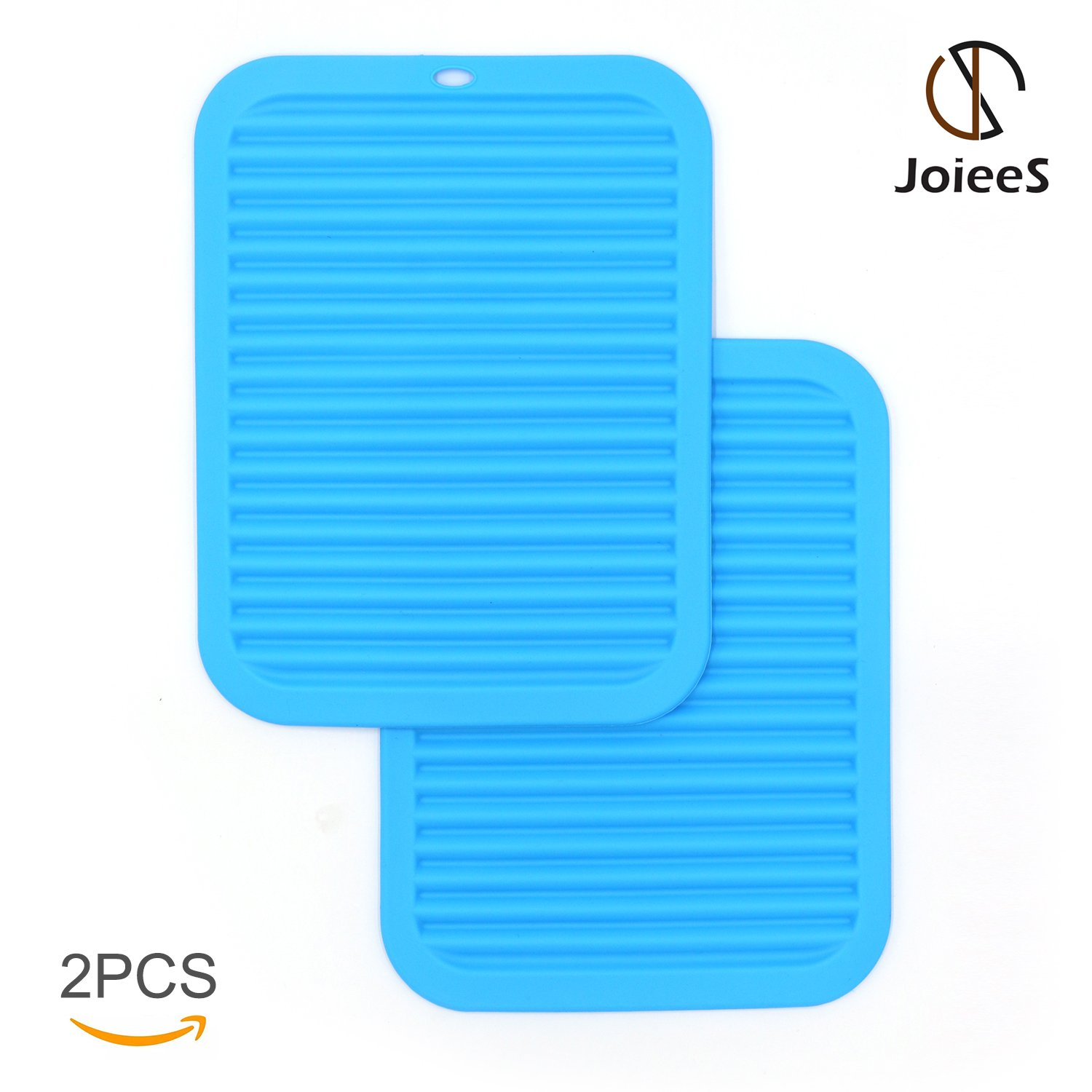 JoieeS 2PCs Kitchen Trivet Extra Large-Sized Hot Pads Insulated Non-slip BLUE