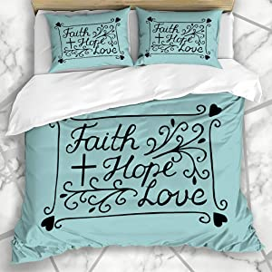 Duvet Cover Sets Holy Bible Hand Lettering Faith Hope Love Excerpt Cross Scripture Believer Biblical Blessing Christ Microfiber Bedding with 2 Pillow Shams Easy Care Anti-Allergic Soft SMO