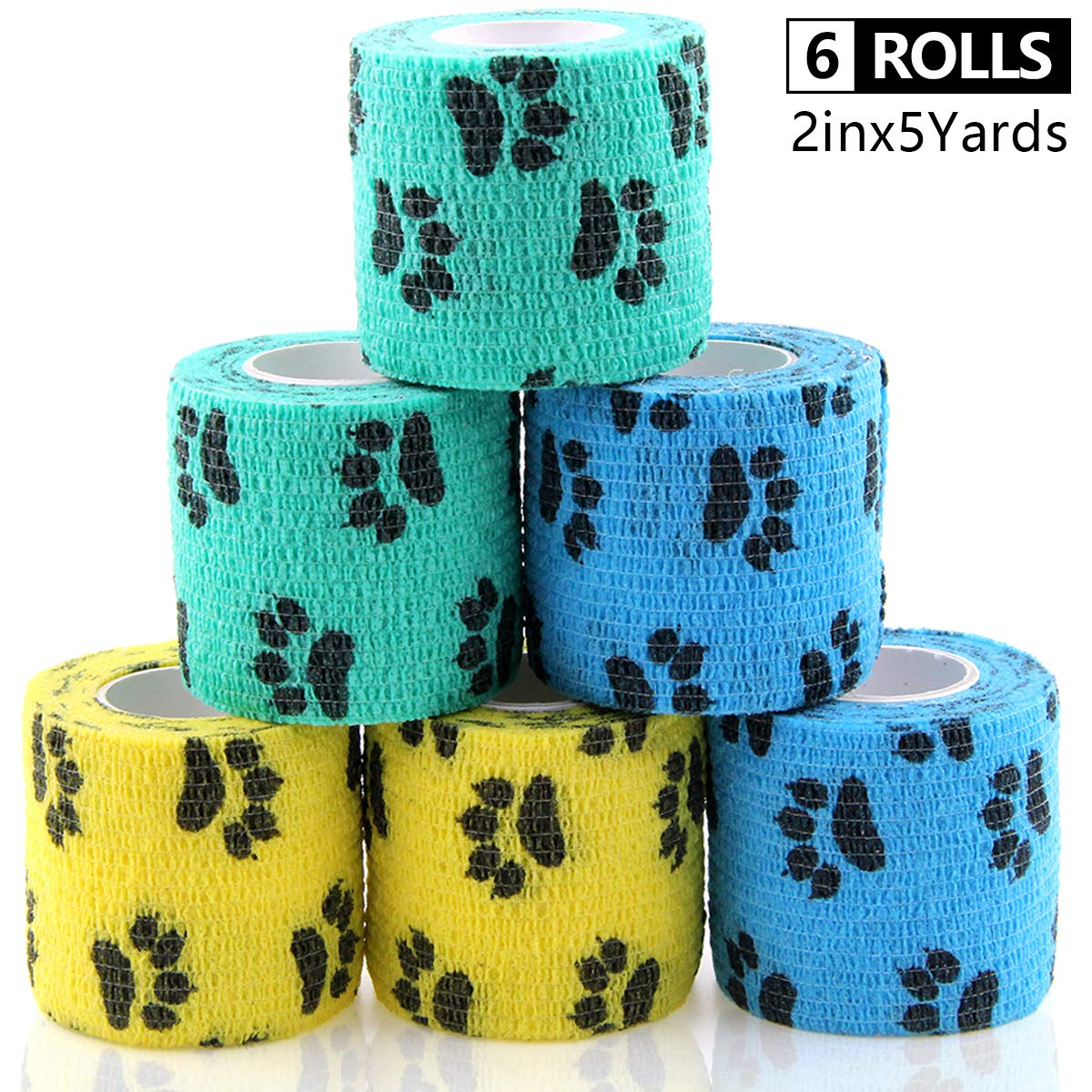AUPCON Self Adhesive Bandage Wrap Vet Wrap Cohesive Bandages Bulk Dogs Self Adherent Wrap Non-Woven for Pet Animals & Ankle Sprains & Swelling by AUPCON