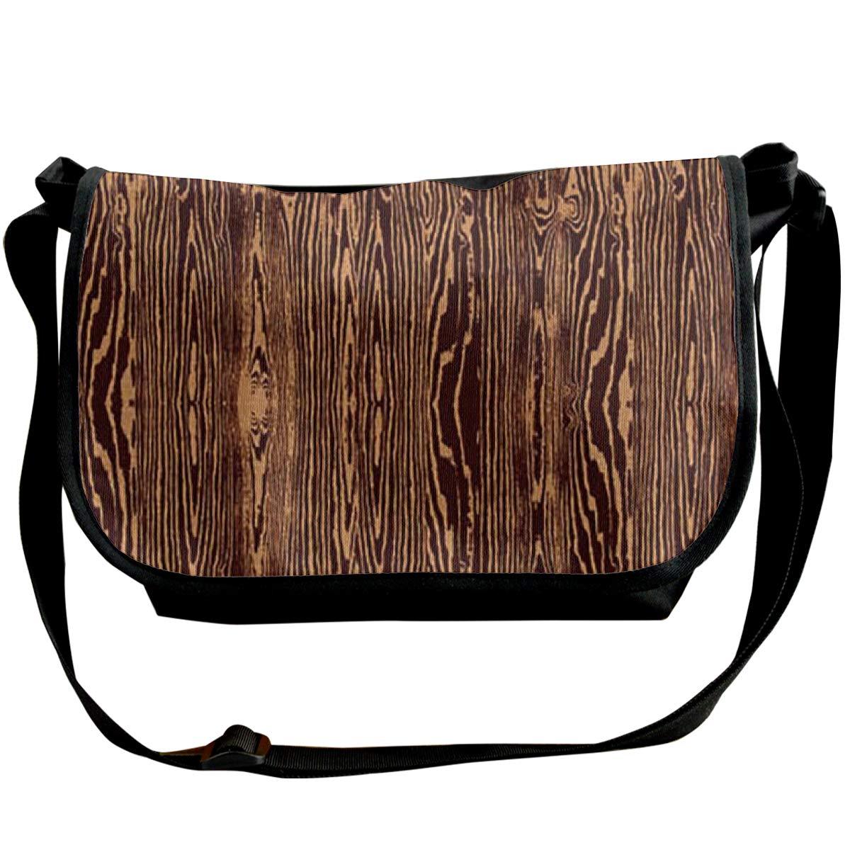 Wood Grain Fabric Unisex Crossbody Single Shoulder Bag Lightweight Bag With Adjustable Strap Travelling Bag