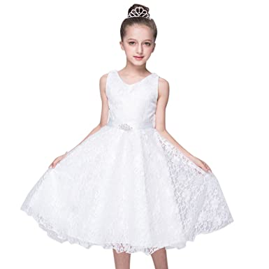 Discoball Girls Flower Sleeveless V-Neck Lace Formal Dress Bridesmaid Flower Girl Princess Pageant Wedding