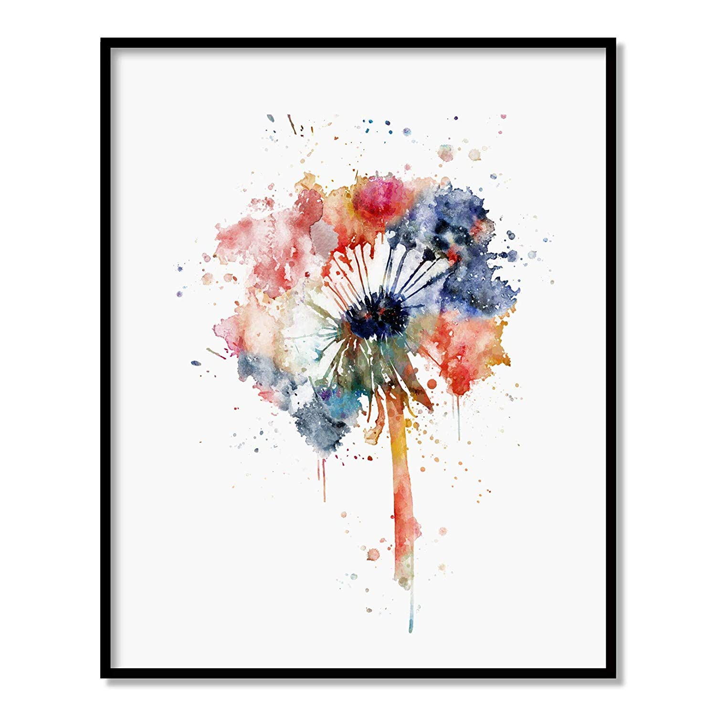 Dandelion Flower, Natural Art Print, Dandelion seed, Watercolor Print, Floral Wall Decor, Unframed 8x10 inch