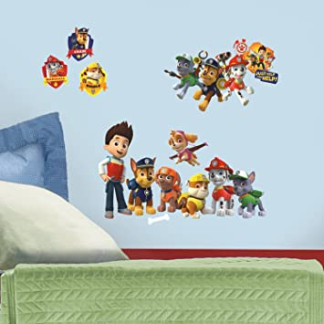 Roommates RMK2640SCS Paw Patrol Peel And Stick Wall Decal, Easy To Remove  And Stick Again