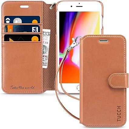 TUCCH Funda iPhone 7, Funda de Cuero iPhone 7 con Protector de ...