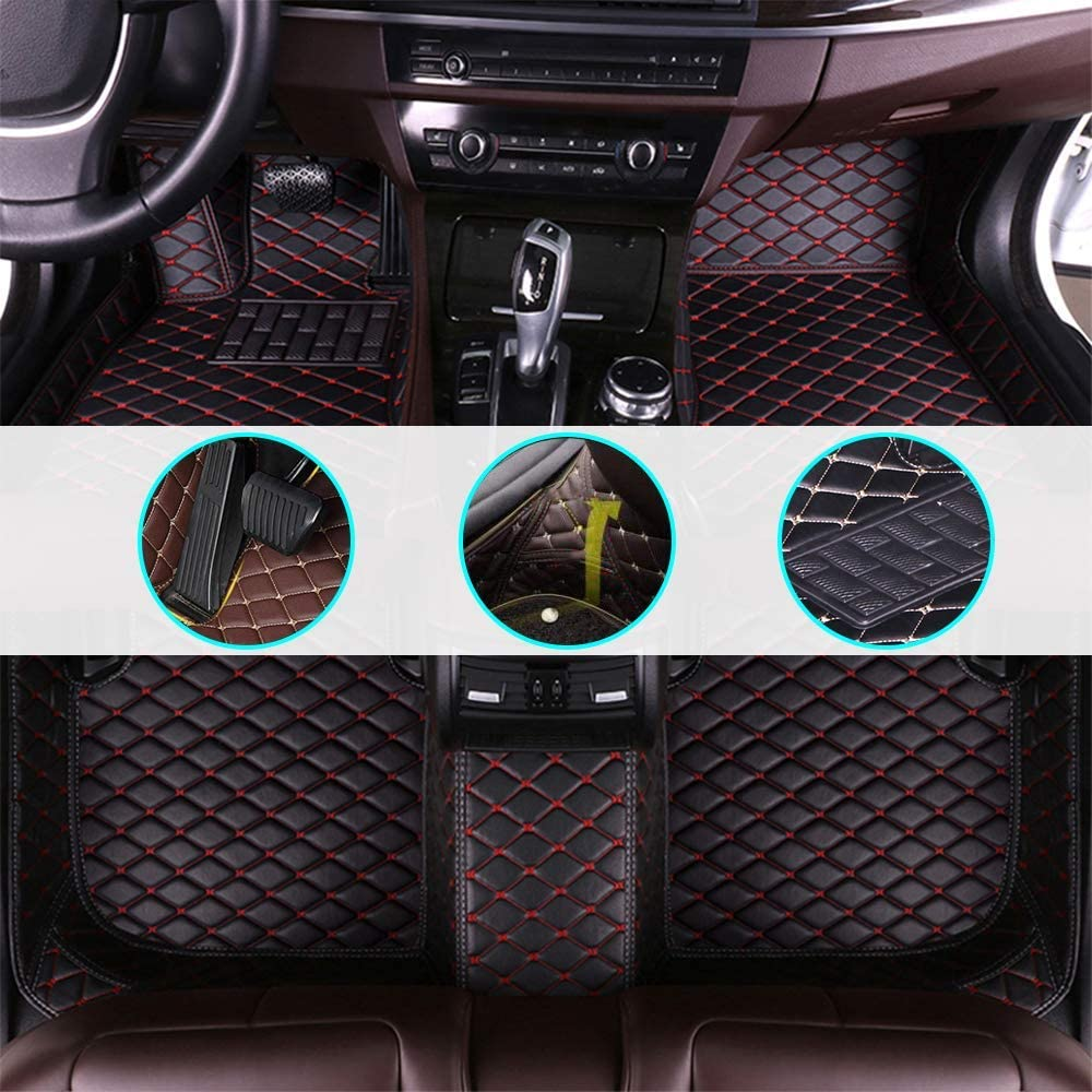 Black with Beige line Full Set Can be Customized for 99/% of Cars Car Floor Mat for Benz GLA Class 2015-2016 All-Weather//Anti-Slip//Dust-Proof//Anti-Snow//Full Protection//Leather