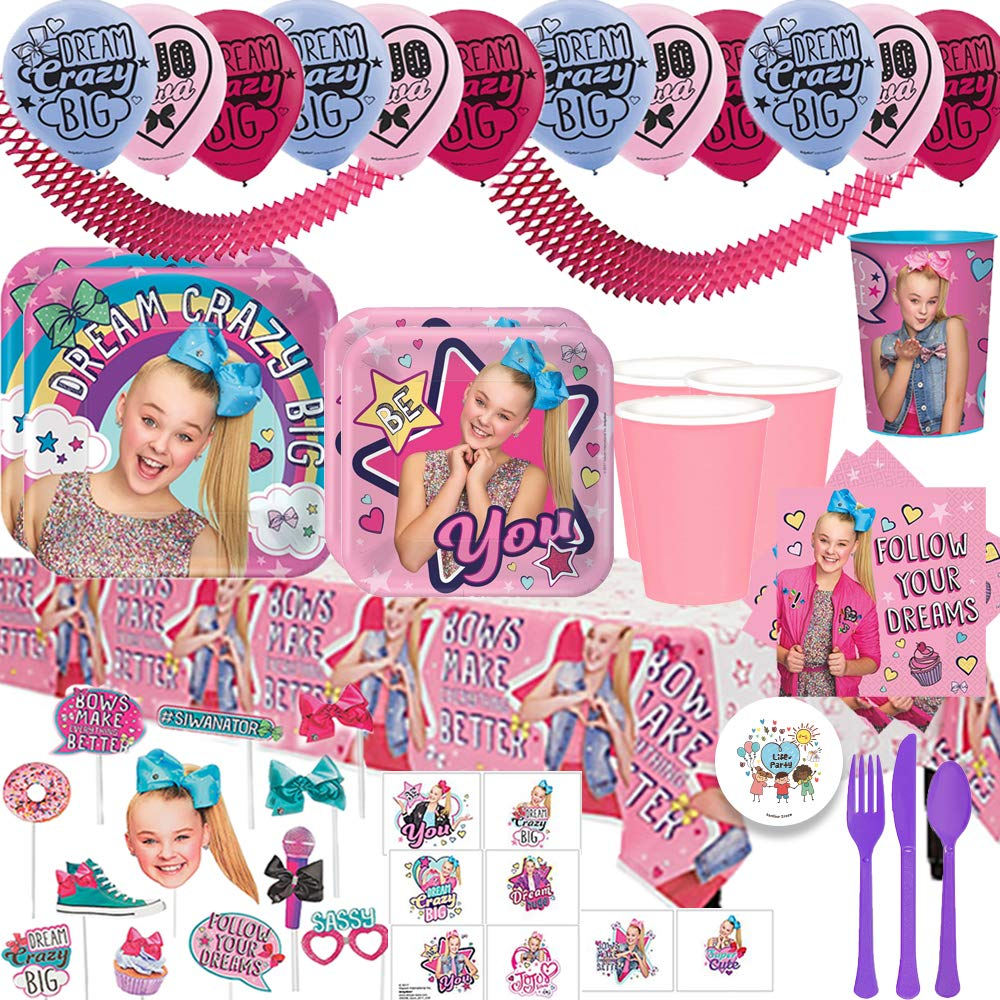 JoJo Siwa Mega Birthday Party Supplies Pack For 16 Guests With Dinner and Dessert Plates, Napkins, Paper Tablecover, Cups, Cutlery, Favor Cup, Tattoos, Photo Props, Balloons, and Exclusive Pin