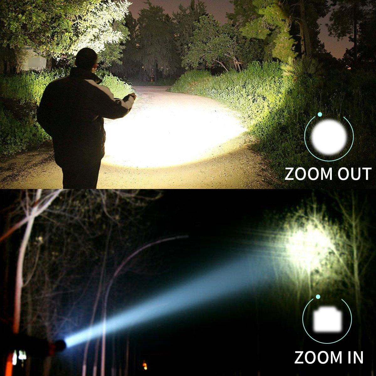 2 en 1 Lampe Torche LED 350m de Distance avec 395NM Lumi/ère Ultraviolet Lampe de Poche Tactique et Lampe Torche UV Cree LED 500 Lumens Puissante 4 Modes Zoomable