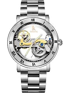 Alienwork IK Reloj Mecánico Automático Relojes Automáticos Hombre Mujer Acero Inoxidable Plata Analógicos Unisex Impermeable 5